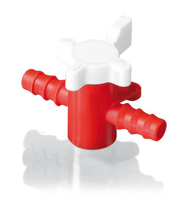 Hose valve 2-way tap, Suitable for: Hose inner Ø 5-7 mm, PVDF