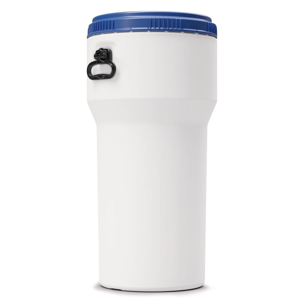 Nestable barrel Barrel, white with a blue screw cap, 30 l
