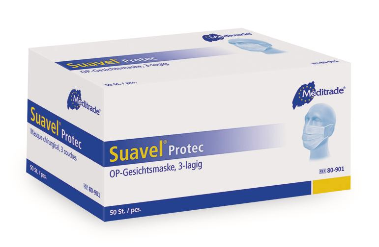 Disposable mouth and nose protection SUAVEL<sup>&reg;</sup> Protec blue