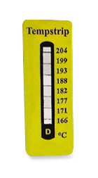 Temperature measuring strips Irreversible, 77-82-88-93-99-104-110-116 °C