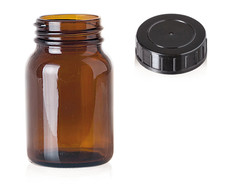 Wide mouth jars Brown glass, 125 ml, GL 40