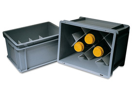 Transport container ROTILABO<sup>&reg;</sup> for bottles, Number of compartments: 8, Compartment size: 97 x 97 mm