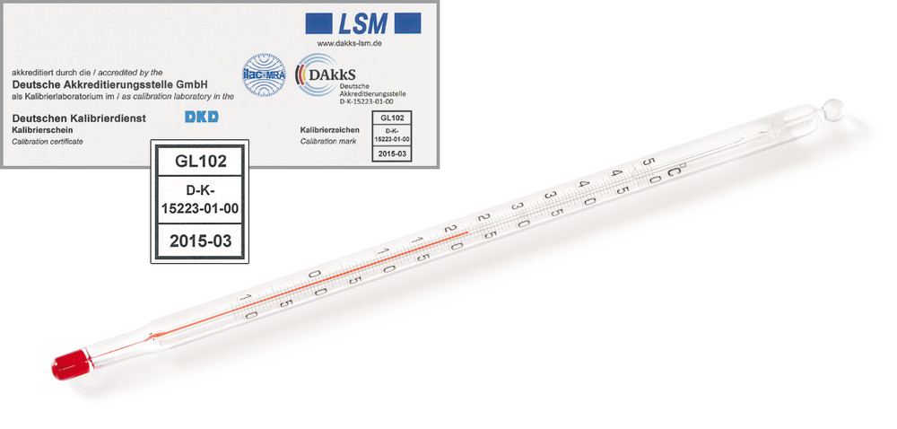 Glass thermometer With DAkkS calibration certificate, -10 to +100 °C, Graduation: 1 °C, 305 mm