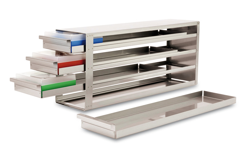 Cryogenic rack Drawer rack, Suitable for: Box height: 50 mm, 5 x 5, Height: 280 mm