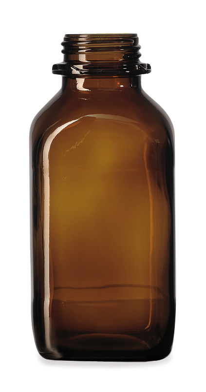 Wide mouth bottle Square Brown glass, 250 ml, 45, short form