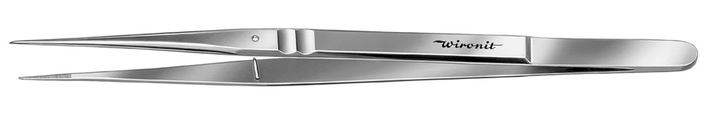 Tweezers with guide pin straight, tips ribbed on the inside