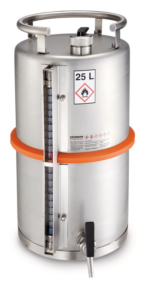 Safety barrel With self-closing stop cock and filling level display, 200 l
