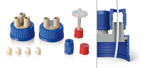 Multiple distributor for bottles GL 45 Insert and screw cap made of PP, 2