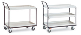 Shelf trolley ESD with storage trays, 960 x 545 mm, Number of bases: 2