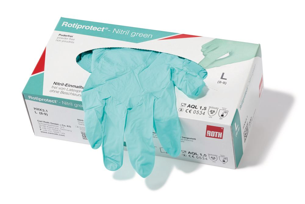 Disposable gloves ROTIPROTECT<sup>&reg;</sup> -Nitrile green, Size: S (6-7)
