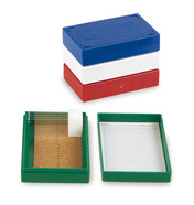 ROTILABO<sup>&reg;</sup> Microscope slide box, Slip lid, No. of slots: 25, blue