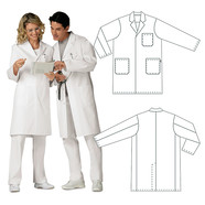 Unisex lab coat with lapel Made of mixed fabric of 65% polyester, 35% cotton, Size: M, Women's size: 40/42, Men's size: 48/50