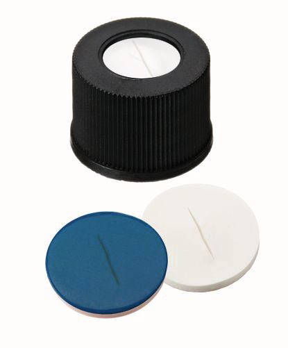 Screw caps ROTILABO<sup>&reg;</sup> ND10 with borehole, White silicone/blue PTFE, slotted