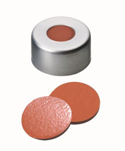 Crimp caps ROTILABO<sup>&reg;</sup> ND11 with borehole, PTFE red/silicone white/PTFE red