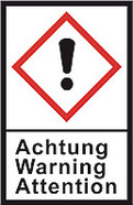 GHS hazardous substance label L 40 x W 27 mm, Exclamation mark/Caution