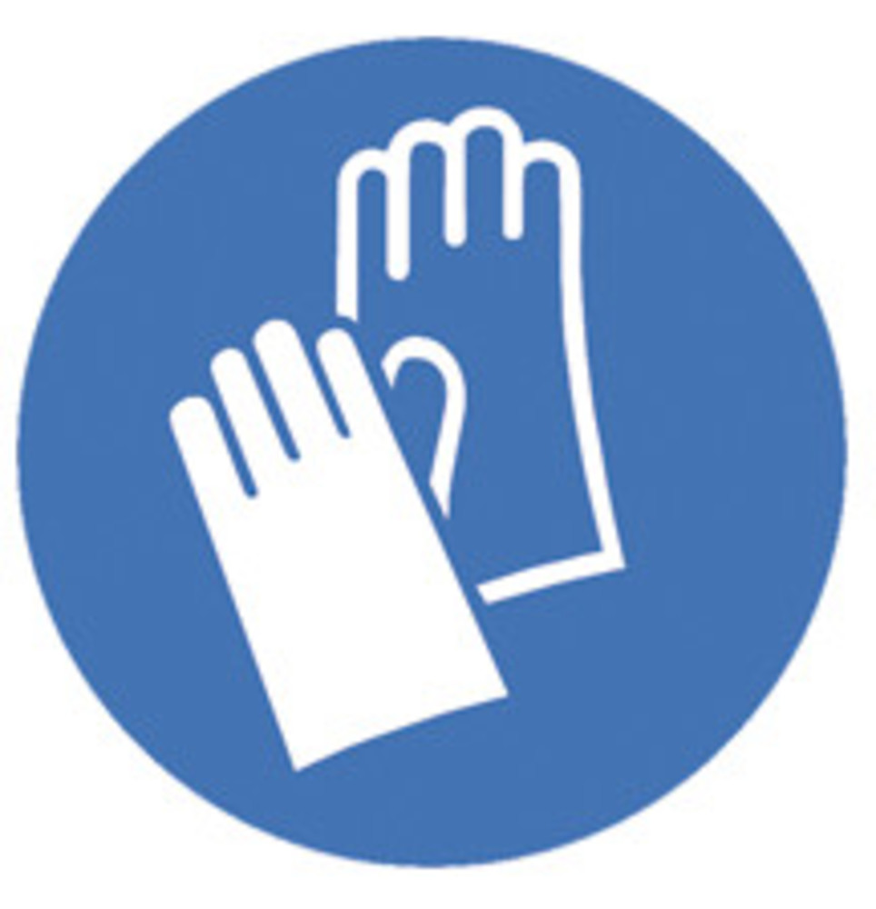 Safety symbols Acc. to ISO 7010, Wear protective gloves, 200 mm | Safety  symbols | Marking | Occupational Safety and Personal Protection | Labware |  Carl Roth - International