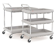 Shelf trolley plastic with tray shelves, Number of bases: 2