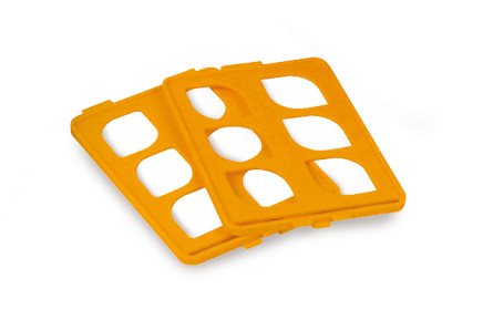 Accessories, No. of slots: 84, 14 x 6, blue, Grid inserts for glass Ø of 10–13 mm, 84 slots, orange