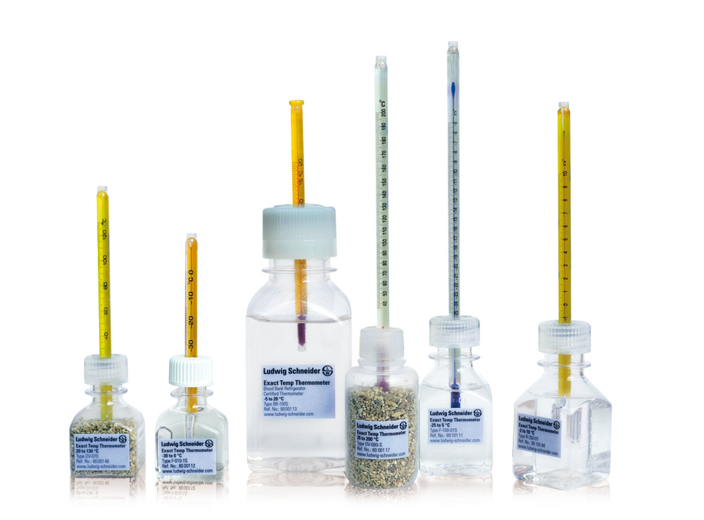 Glass thermometer With temperature limiter Bottle filling medium: Vermiculite, +20 to +130 °C, Graduation: 1,0 °C, 135 mm